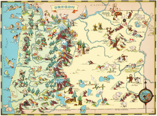 Canvas Reproduction, Vintage Pictorial Map of Oregon Ruth Taylor 1935
