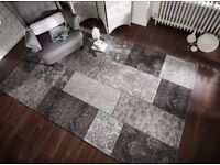 Patchwork Chenille floor Rug, Black and Grey, Hardwearing and Easy To Clean