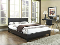 Double / Small Double Leather Bed with Memory Foam Luxury Orthopaedic Mattress