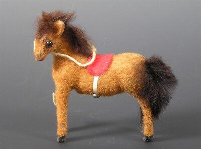 Vintage Flock Covered Pony Figure Toy, Germany KUNSFLERSCHUTZ HANDWORK