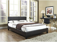 BRAND NEW - double LEATHER BED WITH semi orthopaedic MATTRESS AVAILABLE IN BLACK & BROWN COLOUR