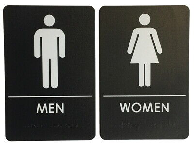 Mens And Womens Restroom Signs Ada Compliant Bathroom Door Restaurant Made Usa