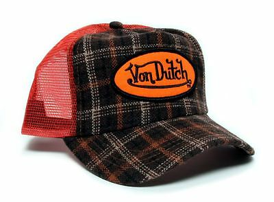 Authentic Brand New Von Dutch Orange/Brown Flannel Sale Cap - Flannel Cap