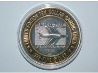 ten dollar gaming token limited edition 999 fine silver