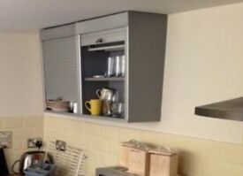 2 x Wall Mounted Kitchen Cupboards with roller shutter