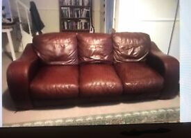 2 large soft leather oxblood sofa (must go)