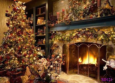 US STOCK 7X5FT Christmas Fireplace Vinyl Studio Backdrop Photography - Backdrop Photography