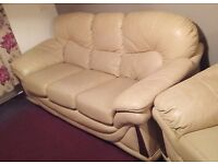 Cream Leather 3-Seater Sofa and 2 Matching Armchairs, Collection Only.
