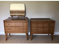 Vintage Retro 1950/60 Dressing Table with Mirror & 2 Drawer Chest By LEBUS