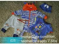 Mothercare Julien MacDonald smile tiger set romper sleepsuit t shirt trousers