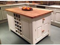 Solid Pine Island Unit, painted to your specification choice of colours and worktop materials