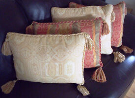 CUSHIONS: 4,2 ea design Laura Ashley tasselled/braided rectangular covers/ feather inners + separate