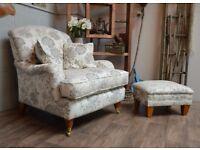 Laura Ashley Fabric Armchair + Footstool Castor Legs