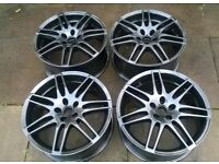 "alloy wheels 18"" rs4 style audi vw etc 5x100 pcd refurbished metalic black"