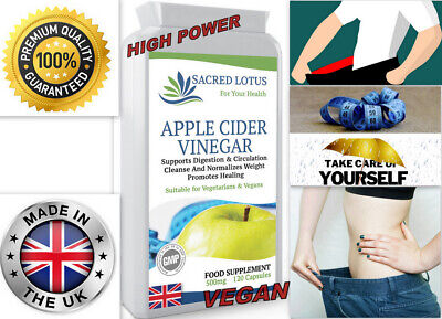 APPLE CIDER VINEGAR WEIGHT LOSS - MOTHER- SLIMMING 500mg 120 Capsules - UK MADE