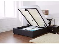 NEW DOUBLE LEATHER STORAGE BED AND SMALL DOUBLE BED -WITH 10INCH DEEP QUILTED MATTRESS