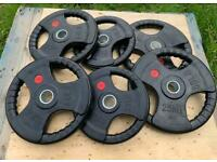 Tri-Grip Olympic Weight Plates Iron Rubber Coated (Grade B)