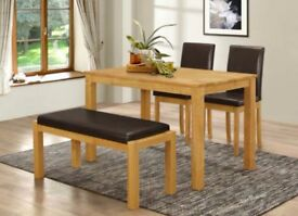 Bench set table and chairs