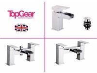 Modern Waterfall Bathroom Tap Sets - Basin Mono, Bath Filler, Bath Shower Mixer