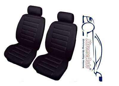 UNIVERSAL FRONT CAR SEAT COVERS Full Set Black Leather Look Airbag Compatible