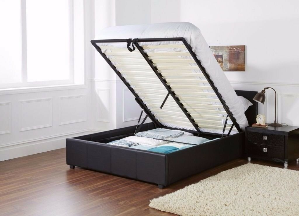 BRAND NEW DOUBLE LEATHER STORAGE OTTOMAN GAS LIFT UP BED FRAME ON SPECIAL KING OFFER SIZE
