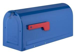 NEW Architectural Mailboxes 7600BE MB1 Post Mount Mailbox Blue with Red Flag