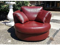 Brand New Milano Leather Swivel Chair - Red