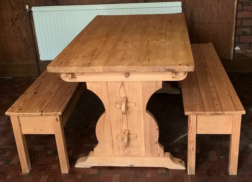 Handmade 50 Year Old Kitchendining Room Pine Table And Church Pew Style Benches