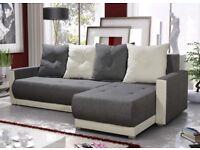 Corner sofa bed sofa bed UK STOCK 1-2 DAY DELIVERY Verona Grey -White