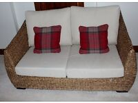 Rattan sofa and Chair set with comfy washable neutral cream cushions £150