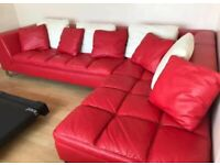 Red leather corner sofa for Sale | Sofas, Couches & Armchairs | Gumtree