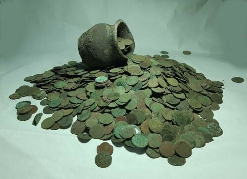 Lot 50pcs.Europian Uncleaned copper coins 1660-66 years Solid Poland,Lithuania