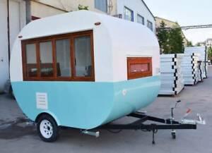 Vintage Food Coffee Cart Trailer Van Truck