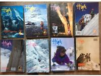 82 issues of HIGH magazine, climbing and mountaining