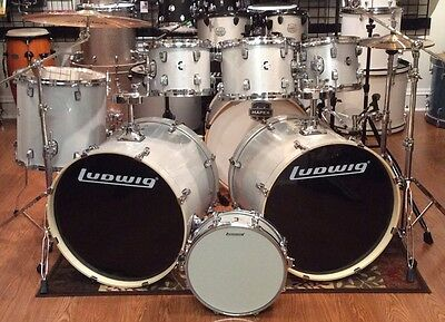 Ludwig Element Evolution 7 Piece Double Bass Drum Set-Zildjian ZBT Cymbals-White