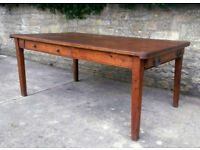 Vintage 1920s Drafting Table - Solid Wood Dining Room Kitchen