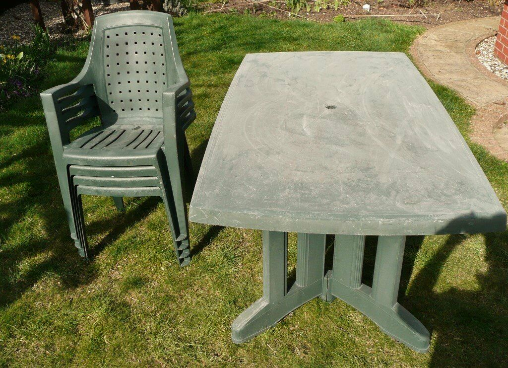 Green Toughened Plastic Garden Patio 66 5 Long Table And 4 Chairs Garden Furniture Set 60