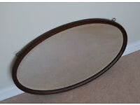 Antique Vintage Large Wooden Oval Mirror Beveled Edge 28.5 inches x 17 inches