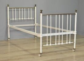 """Attractive Antique Victorian Single 36"""" Cast Iron & Brass Bed Frame"""