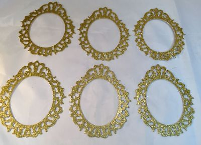 - Tim Holtz  Die Cuts: Oval Ornate Frames  * Gold Glitter Cardstock * Six Frames
