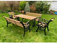 Traditional Cast Iron Garden 8 seater Furniture Set with Oak slats