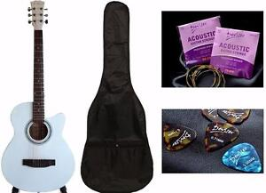 Acoustic Guitar for Beginners 39 inch brand New White iMG584 Free Soft bag, extra string set, 5 picks