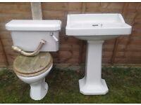 Art Deco Vintage antique old salvage Toilet & Adello Cistern , ACI Paisley Sink / Basin & Pedestal