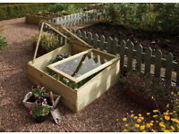 Two Wooden Cold Frames - Mini Greenhouses- Garden Growhouses