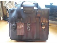 "16"" Laptop bag, brown leather and canvas. With carry handles and shoulder strap. Brand new. £18"