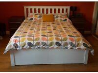 White wooden king ottoman storage bed £100