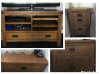 Next Solid oak tv unit sideboard & chest of draws