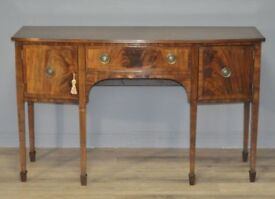 Attractive Vintage Mahogany Regency Style Bow Front Sideboard Side Cabinet