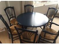 Beautiful French dining table and six chairs (two with arm rests) Reduced from £220 to £150