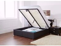 BLACK BROWN OR WHITE- 4FT6 OR 4FT DOUBLE OR 5FT KING GAS LIFT OTTOMAN STORAGE BED w MATTRESS RANGE